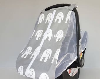 Car Seat Canopy - Made to Order - Gray and White Elephants Car Seat Cover - Elephants Car Seat Canopy - Fitted Carseat Cover - Dear Leora