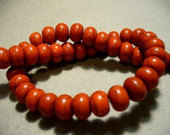 Magnesite Beads Gemstone Red Rondelle 12x8MM