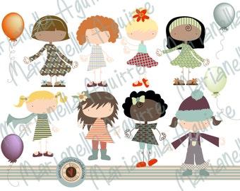 little girls. CLIP ART .DIGITAL.