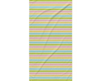 Garden Bug Beach Towel - Style 11 - Pastel Stripes