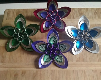 Anodized aluminum scale flower hair clips