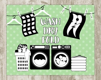Laundry Wall Art, Green Laundry Printable, Laundry Room Wall Decor, Laundry Print, Laundry Poster, Laundry Sign 8x10 11x14 Instant Download