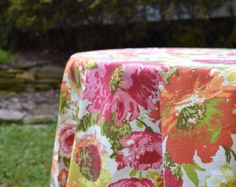 1970s Floral Tablecloth with Fringe. '70s Flower Power Round Table Cloth w/ Pink Fringe. Late '70s Housewares, Kitchen