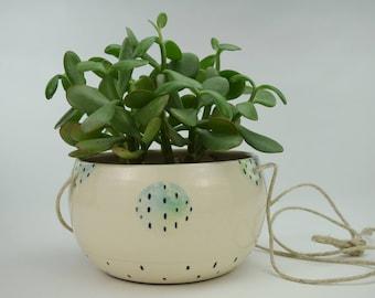 Handmade Ceramic Hanging Planter // Indoor Hanging Planter // Ceramic Plant Pot // DOTS PLANTER // Ready to Ship