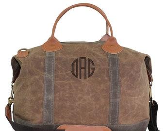 Monogrammed Weekend Waxed Canvas Luggage Tote Bag Overnight Weekender
