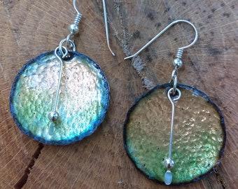 """Green glass enameled earrings  on sterling silver ear hooks ,OOAK, 1"""" round"""