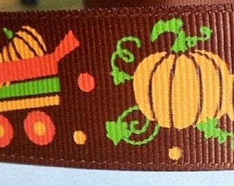 Brown Ribbon with Halloween Pumpkin Pattern