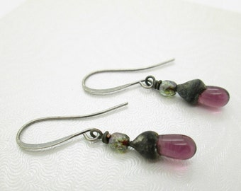 Tiny Boho Purple Glass Dangle Earrings