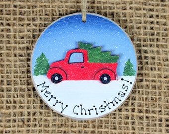 Red Truck Ornament~ Christmas Vintage Truck~ Christmas Tree~ Merry Christmas Keepsake Gift