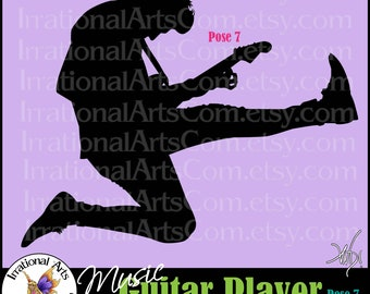 Music Guitar Player Pose 7 vinyl ready image - with 1 EPS, SVG & PNG digital files graphics clipart electric guitar{Instant Download}