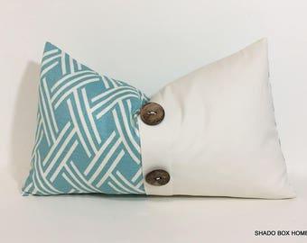 Aqua button pillow cover. 12x20 Colorblock pillow cover. Button pleat accent. Beach home decor lumbar pillow cover, throw pillow