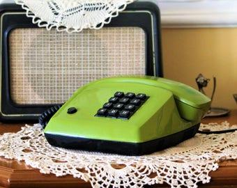 Vintage Phone - Push Button Phone - Green Phone - Old Phone - Vintage Office Decor - Phone Decor - Prop Phone - Movie Prop
