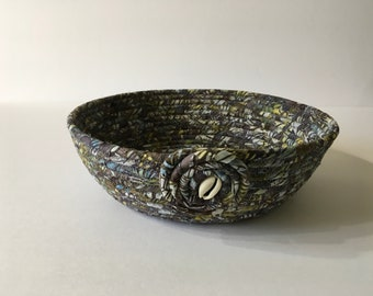 Batik Gray Green and Blue Coiled Rope Bowl, Fabric Bowl, Catchall Basket, Organizer Basket, Quiltsy Handmade