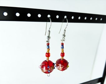 Red Murano Beaded Art Lampwork Drop Earrings