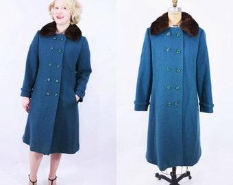 1960s teal coat | Bromleigh teal wool fur collar coat | vintage 60s coat