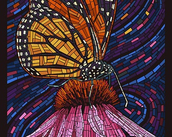 Asilomar - Pacific Grove, California - Monarch Butterfly Mosaic (Art Prints available in multiple sizes)
