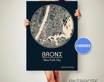 BRONX New York CANVAS Map Bronx New York Poster City Map Bronx New York Art Print Bronx New York poster Bronx New York map art Poster
