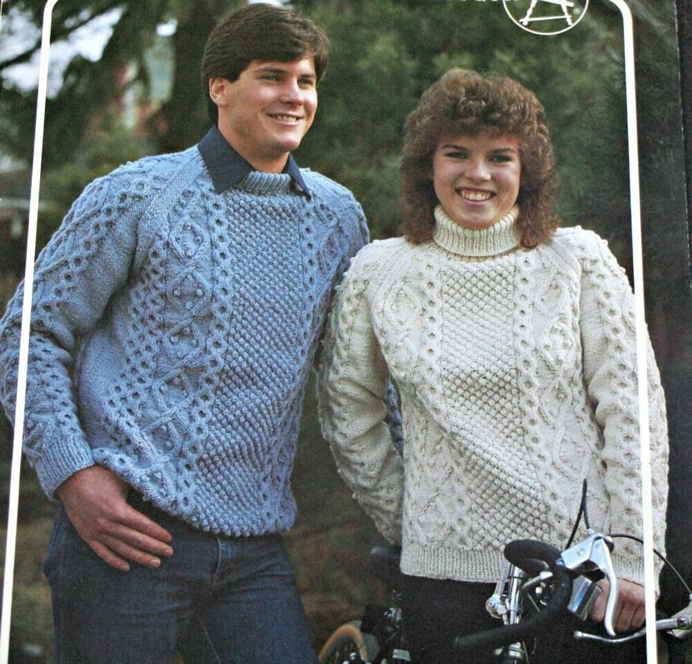 Aran Sweater Knitting Pattern Irish Pullovers Bouquet 468 Size 34 ...