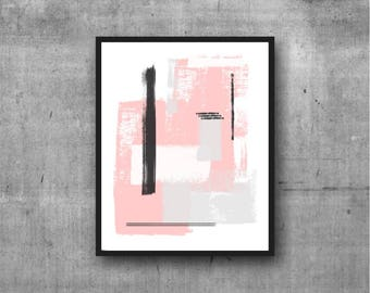 Pink, Gray & White Art, Abstract Art, Contemporary Art, Art Print, Abstract painting, Contemporary Painting, Minimal, Minimalist