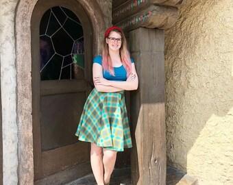 Merida Inspired Plaid Flannel Circle Swing Skirt