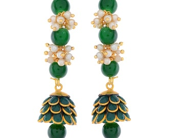 Faceted Zambian Emerald, River Pearl Gold Plated Earrings