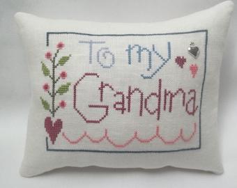 Grandma Cross Stitch Mini Pillow Shelf Pillow Mother's Day