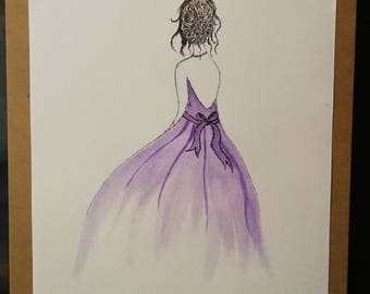 Girl in a purple dress. Watercolour and Ink painting, Original