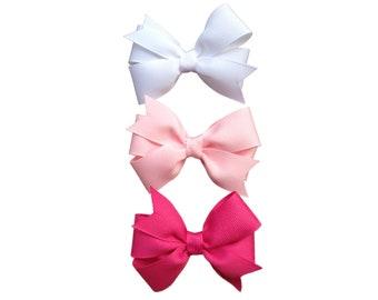 Set of 3 hair bows - 3 inch hair bows, pinwheel bows, girls hair bows, girls bows, custom bows, toddler bows, baby bows, hair bows, bows