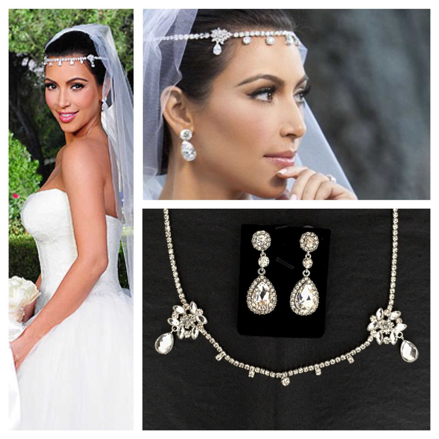 kim kardashian wedding headpiece earrings set tiara headband