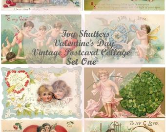 Vintage Valentines Day Postcards Set 1 Digital Printables