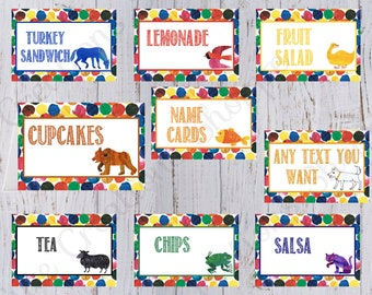 Brown Bear Birthday Party Food Labels with Personalized Text