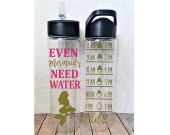 Even Mermaids Drink Water, Mermaid Water Bottle, Mermaid Water Tracker, Mermaid Gym, Mermaid Tumbler, Mermaid Christmas