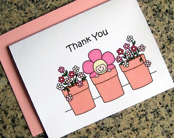 pink baby in a flower pot shower thank you cards for baby girl (blank or custom printed inside) with pink envelopes - set of 10