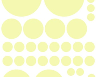 70 Pale Yellow Cream Vinyl Polka Dots Bedroom Wall Decals Stickers Teen Kids Baby Nursery Dorm Room Removable Custom Made Easy to Install