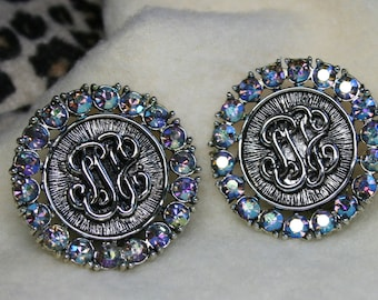 Vintage 1950's Judy Lee Faux Pocket Watch Clip-On Earrings | Aurora Borealis Iridescent Rhinestones | Silver | Blue | Monogram | Medallion