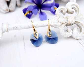Blue indigo heart crystal earrings Swarovski crystal jewellery bridesmaid earrings gift Silver rose gold plated earrings Gift for her