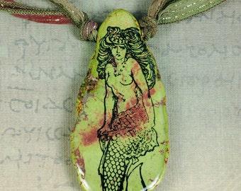 Mermaid Necklace - Mermaid Pendant - Light Green