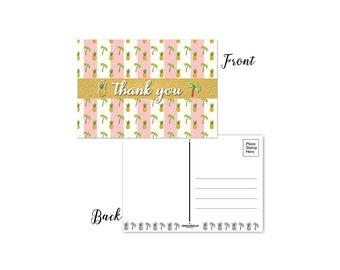 Tropical Theme Thank You Set of 50 Postcards - 4 x 6 Thank You Postcards - B17017