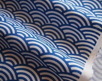 Japanese fabric waves, seigaiha motif, blue, indigo,