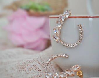 Greek Style Half-Drop Crystal Earrings   Helenistic Rose Gold Bridal Earrings