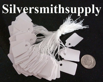 """100 White paper jewelry price tags write on, string attachment 7/8"""" x 5/8"""" label pt007"""