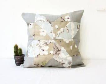 Patchwork cushion cover, neutral cushion cover, neutral rustic decor, modern patchwork pillow, 16 inch cushion, handmade in the UK
