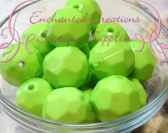 22mm Lime Green Faceted Acrylic Beads 8pcs