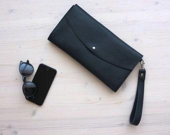 Leather Clutch, Envelope Clutch, Dark Blue Clutch, Black Leather Clutch, Casual Clutch, Leather Evening Bag, Leather Purse, Envelope Bag