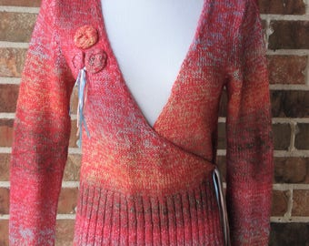 Rainbow Pink Sweater Cardigan Long Sleeve Sweater Blue Red Pink Orange Yellow Multicolored Classic Boho 1980 Retro Hipster size S