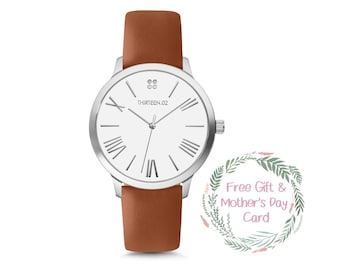 Personalized Gift for Mom, Personalized Jewelry, Mothers Day, Silver Watch, Leather Watch, Wrist Watch, Womens Watch, Mom Gift, Wife Gift