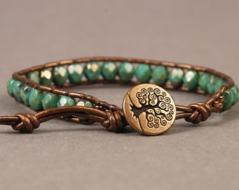 Turquoise Picasso Leather Wrap Bracelet with Brass Tree of Life Button