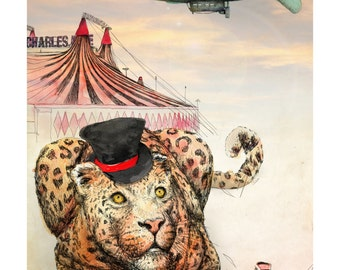 The Ringleader | A5 print | Alykat Creative Escape from the Circus series | Leopard blimp