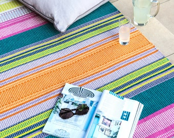 Bodacious handwoven eco rug for indoors or outdoors