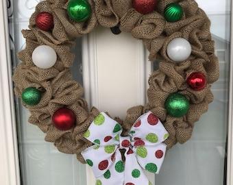 Christmas Wreath, Holiday Wreath, Door Wreath, Outdoor Wreath, Bow Wreath, Ornament Wreath, X-Mas Wreath, Burlap Wreath, Winter Wreath
